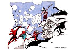 Spidermen (inklines) Tags: art illustration clouds comics sketch dance dancers drawing cartoon dream spiderman sketchbook doodle comix comicbook superhero illustrator psychedelic psychedelia penandink wordballoons spidermen michaelarthur