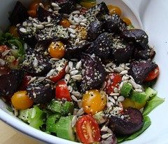 Roasted Beet Salad (= Steph =) Tags: autumn food salad vegan goodness healthy yum good gorgeous cucumber tomatoes delicious homemade vegetarian colourful celery yellowpeppers sunflowerseeds roastedbeets hemphearts chiaseeds