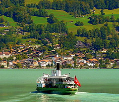You're on your own now!! (eucharisto deo) Tags: water apt ferry boats boat brienzersee paddle railway cable rack bahn steamer cog oldest afloat funicular seilbahn 1879 rackandpinion giesbach giesbachbahn romanapt