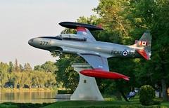 T-33 Island Park Portage La Prairie, Manitoba (Rich Willett) Tags: sunset canada aviation jets scenic manitoba planes lockheed trainer silverstar tbird rcaf crescentlake t33 islandpark canadianforces portagelaprairie