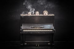 Three in the piano (dawolf-) Tags: theatre head smoke smoking piano pedals vignette pale woman man music tag press makeup white 1940s old aged stage 40s canon 5d tripod portfoliotheatrical