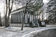 eaton mausoleum, mount pleasant cemetery, toronto, ontario (twurdemann) Tags: park winter sculpture snow toronto cold architecture bronze backlight temple memorial mausoleum lions eaton crypt corinthiancolumns bleachbypass mountpleasantcemetery nationalhistoricsite corinthianorder colourefex eatonmausoleum detailextractor fujixe1 nikcollection