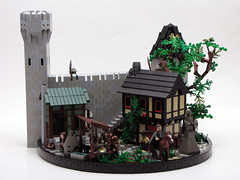 A Day in the Life (cmaddison) Tags: castle village lego medieval tudor blacksmith peasant halftimber cccxi vision:outdoor=0928