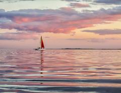 (4/52) Sailing At Twilight (Louise Lindsay) Tags: sunset reflection colors clouds sailboat bay kayak florida 12514