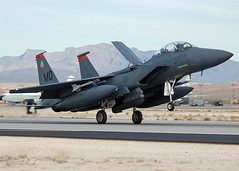 90-0240 (2) (Rich Snyder--Jetarazzi Photography) Tags: plane airplane acc fighter lasvegas aircraft nevada attack jet mo landing nv arrival airforce bomber usaf usairforce mudhen arriving f15 mcdonnelldouglas strikefighter nellisafb f15e strikeeagle rollout boldtigers lsv klsv 366thfw 900240 redflag141 nellisfullthrottle 391stfs aircombtcommand