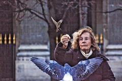 A park in Paris (Blandfordeye1) Tags: street portrait woman paris france birds lady eos wings cannon fastshutter