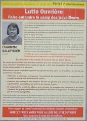 Claudette Balleydier (emmanuelsaussieraffiches) Tags: poster political politique affiche lutteouvrire