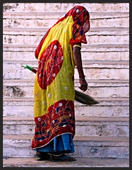 india (gerben more) Tags: people woman india stairs broom rajasthan shekawati