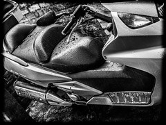 Silver Wing FJS600 maxi scooter. (CWhatPhotos) Tags: photographs photograph pics pictures pic picture image images foto fotos photography artistic cwhatphotos that have which with contain epl5 olympus pen lite esystem four thirds digital camera lens olympuspen m43 ef adapter fitted taken sigma 30mm f14 prime black white mono monochrome maxi scooter honda fjs scoot silver wing silverwing 600 fjs600 flickr