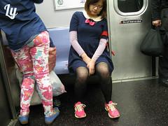 Girl sleeping on the N subway train - 2013 NYC (Lee Yee Photography) Tags: nyc newyorkcity travel sleeping girl fashion brooklyn train work subway office streetphotography journey commute commuter passenger pinkshoes fatique metropolitantransitauthority leeyeephotography