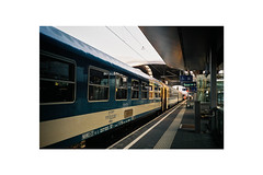 It was hard to say goodbye. (danischrott) Tags: graz austria nikon l35af bahnhof travel morning morgen sunlight railway train zug grain art analog analogue artistic photography white framed 35mm