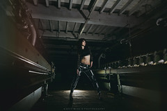 The Mill (modulationmike) Tags: model sexy lighting abandoned mill machinery deralict leggings heels hair nikon offcameraflash wideangle speedlights