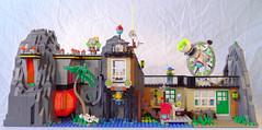 Magic Mountain Time Lab remake (lingonkart) Tags: lego moc timecruisers magicmountaintimelab timetravel laboratory base volcano remake drcyber timmy skeleton monkey robot timemachine
