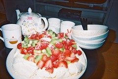 tea time (zszphia) Tags: uk summer food london english fruit dessert healthy strawberry tea drink kiwi pavlova meringue