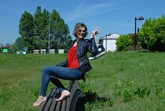DSC_0020 (theoverseer) Tags: blue red sun black feet girl beautiful sunshine leather shirt bare jeans teen jacket barefoot blonde