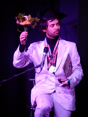 THQFUG 30/05/13: Marcel Wins (Diamond Geyser) Tags: studio comedy comic basement winner comedian standup quizshow leicestersquaretheatre marcellucont alexisdubus humblequestforuniversalgenius thqfug