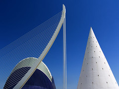 Valencia's Ciudad de las Artes y las Ciensias, Spain - Agora and suspension bridge 3 (Jon Bower) Tags: city blue sky geometric glass architecture modern spain arts azure ciudad cloudless artes palau sciences agora concret hemisferic aluminim valenica umbracle modernistic ciensias meseu