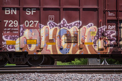 GHOUL (TheLost&Found) Tags: urban art car minnesota train bench paint panel box painted union trains canvas boxcar burner freight bnsf rolling ghoul azm ghouls benching