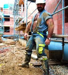 dirty worker (Farmerbaer) Tags: beefy buff sturdy rubberboots gummistiefel bauarbeiter stocky bullig machoworker hairychestedbearded brawnyswissworker