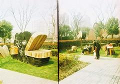 Sculpture park (Roon & Beks) Tags: china rollei golden xpro cross shanghai frame half process crossbird