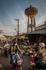 Bustling Market (GTR Photographic Images) Tags: street bicycle riley nikon market watertower sigma images photographic glen vietnam motorbike gtr d90 1850mm httpswwwfacebookcomgtrphotographicimages httphakomi29wixcomgtrphotoimages marketphuquoc