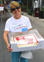 Former Exec. Director Judi McIntyre on Canada Day (Unionville BIA) Tags: street canada cake day main director executive unionville