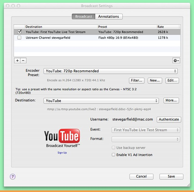 Wirecast: Broadcast Settings for YouTube