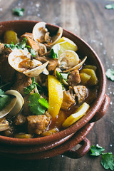 Carne de Porco  Alentejana (Rochelle Ramos) Tags: food recipe potatoes lemon salt pork shellfish garlic seafood oliveoil clams cilantro portuguese savory meatrub