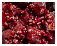 Teeth (burr0ughs) Tags: new red fall halloween modern blood october teeth monochromatic meat creepy sharp seeds steak gross gore gorey grotesque guts pomegranite vision:night=054