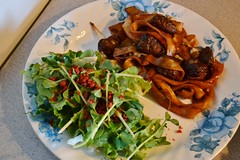 Rice Noodles and Beefless Tips with a Tasty Salad! (Vegan Butterfly) Tags: food green vegetables dinner leaf bacon salad vegan yummy healthy rice sauce tasty plate meat delicious lettuce eat meal tips vegetarian cabbage noodles soy supper veggies shoots pea bits gardein beefless