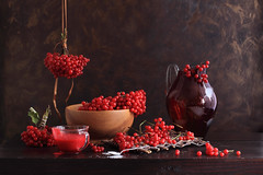 Kalyna Red Fete (panga_ua) Tags: light stilllife color art composition canon spectacular lights artwork shadows artistic availablelight ukraine poetic sugar creation hanging imagination natalie presentation reds chiaroscuro arrangement tabletop bodegon naturemorte panga artisticphotography woodenbowl redberries teaspoon rivne naturamorta artphotography sharpfocus glasscup kalyna glasspitcher paintedbackground woodentabletop  nataliepanga guelderroseberries redglassjug wickerpad kalynaredfete redjuiice bunchesofberries