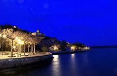 Blu Notte-Blue Night (Lillux1971) Tags: blue panorama lake night canon landscape lago lights evening long exposure roman blu romano luci stroll notte trevignano sera lunga esposizione passeggiata 600d lillobar lillo1971