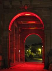 Red arches, Kelvingrove.  (IMG_4071) (Robert G Henderson (Romari).) Tags: red art museum night scotland gallery december glasgow kelvingrove 2013