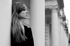 7 /365 'London Loves' (Grace_Evangeline) Tags: woman white black building london girl beautiful stone architecture hair long young grace pillars evangeline