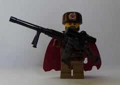 Metro Heavy Sniper (enigmabadger) Tags: gun lego metro fig russia prototype soviet sniper cape accessories minifig sten custom russian printed proto minifigure 2033 ushanka rpd m2hb brickarms mmcb
