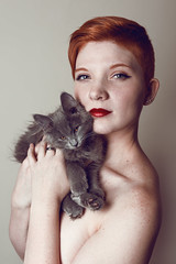 Freckles & Fur (Olivia Kirsten James) Tags: red portrait pet baby animal cat fur eyes hands kitten skin ears redhead whiskers freckles lipstick paws redhair instinct clavicles