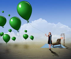 Green Balloons (Cat Girl 007) Tags: girl female photomanipulation balloons photography digitalart surreal bluesky fantasy rug lantern baretrees chaise stpatricksday whimsical treebranch desertlandscape whiteclouds luftballon wakeupandsmellthecoffee stormthorgerson lunalovegood greenballoons desertsand holidaysandcelebrations deviantartstock