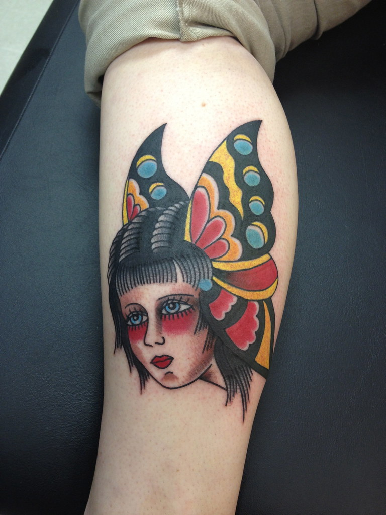dbe7312ed Traditional Butterfly Girl Head Tattoo by Krooked Ken at Black Anchor Tattoo  in Denton MD (