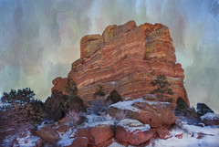 Red Rocks Park in Winter (Cat Girl 007) Tags: trees winter usa mountain snow cold texture nature rock stone landscape outdoors photography colorado scenic environmental denver wilderness monolith shining coloradorockies redsandstone jeffersoncounty redrockspark magicunicornverybest