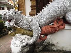 Baby dragon nursing 1 - Chiang Mai, Thailand (ashabot) Tags: sculpture art thailand seasia cities statues dragons temples wat streetscenes antiquities templeguards