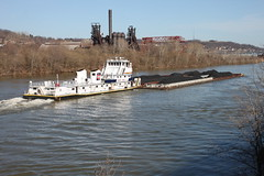 Michael J. Grainger and Carrie Furnace (joseph a) Tags: abandoned pennsylvania homestead barge rankin barges braddock towboat monongahelariver steelmill carriefurnace nationalhistoriclandmark munhall coalbarge monvalley carriefurnaces monongahelavalley