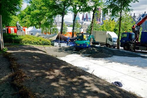 Afgraving tbv WK  Beach Volleyball op de Hofvijver