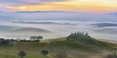 Tuscan Life (Lee Sie) Tags: italy tuscany toscana villa sunrise landscape sun sky clouds morning mist vineyards hillside agriturismo italia travel enchanted dreamy