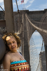 Denise on the bridge (rowens27) Tags: newyork june brooklyn canon outdoors spring manhattan brooklynbridge wife denise sunnyday 2015 60d