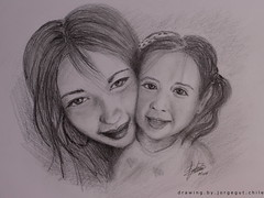 Catalina e Hija (SOBREVALORADO) Tags: chile girls portrait art love drawing retrato daughter mam mother mum carbon dibujo madre santiagodechile chileno chilean hija lpiz chilenas grafito noviciado chileanbeauty
