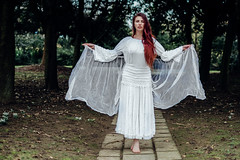 Angel (Linda Court) Tags: cold miltonkeynes roswellivory treecathedral auburn ethereal floating material model redhair trees white wintersun woods