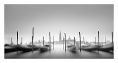 Poles apart (Nick green2012) Tags: venice church tower longexposure blackandwhite 21 gondolas