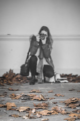 20170319_F0001: Documenting the desolate (wfxue) Tags: photographer dry empty winter leafs brown floor ground portrait people blackandwhite bw selectivecolour selectivecolouring