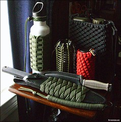 Knotty gadget drawer collection items... (Stormdrane) Tags: paracord stormdrane knife fixedblade coldsteeltrailmaster carbonv steel leather sheath led lantern coozy cozy koozie can holder countycomm strobelight waterbottle canteen wrap woven pouch 550cord verticalhitching bootknife grip handle spanishringknot turksheadknot hangmansnoose sparecord carry edc everydaycarry bushcraft survival bugoutbag scouting military gift project stormdranesblog red olivedrab black green mtechxtreme belt shoulderloop adjustable opentop cinchcord cordlock carabiner