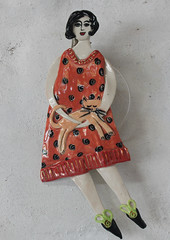 woman with Cat (Cathy Oddie) Tags: red woman cats cat ceramics pottery reddress wallhanging cathyoddie